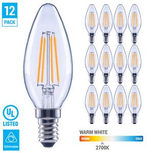 (12 Pack) LED 60W Chandelier Filament B11 Clear Bulb Candelabra E12 Warm White