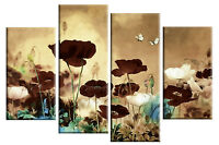 """BROWN BEIGE CANVAS ART CHINESE FLORAL FLOWER SPLIT MULTI 4 PANEL PICTURE 40""""x27"""""""