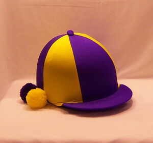 RIDING HAT COVER - PURPLE & YELLOW