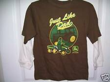 John Deere Brown Just Like Dad Long Sleeve Shirt  Boys Size 7 NWT  #80