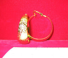 MADE IN USA - Clip on Gold Plated Design Hoop Earrings ~1-3/8""