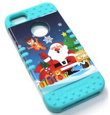 for iPhone SE 5 5s Christmas Santa Claus Hard & Soft Rubber Hybrid Koolkase Case