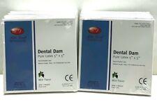 Dental Natural Rubber Dam Blue Mint Medium 5 X 5 Sheets Latex Kit 10 Box