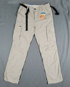 NWT Mens Columbia Kestrel Trail  Cargo Omni-Shade UPF 50 Size 32x32 Belted Pants