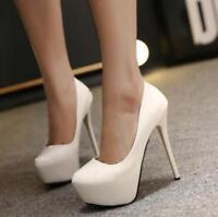 Women 14 cm High Heel  Sexy Platform Pointed Pointy Toe  Plain Pump Shoes Size
