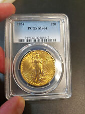 1924 DOUBLE EAGLE $20 GOLD ST SAINT GAUDENS GOLD COIN PCGS MS64 STUNNING