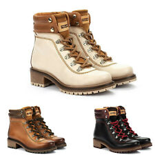 Pikolinos Women Boots Aspe Leather Boots Lace Up with Zipper Cushioned Insole