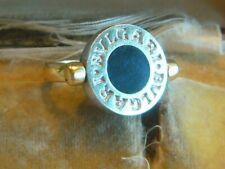 massiver 9,8 gr Schwarz Onyx 750er  Bicolor Gold Siegelring Ring Gr 55 / 17,5