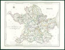 1845 IRELAND - Original Antique Map of MEATH by Lewis with outline colour