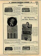 1935 ADVERT 2 Sided Koch's Bugle Call Hotz Hohner's Harmonica Store Display Rack