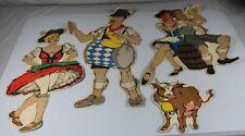 C1/ 4x alte farbige Papier/Pappe Figuren - Bayerische Trachten , bis ca 66x42 /H