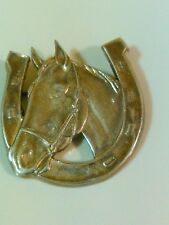 ESTATE STERLING SILVER EQUINE HORSE HORSESHOE PIN BROOCH
