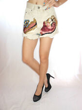 ANGELS Womens Vtg Casual Distress Embellish Beige Hot Pants Shorts sz XS AE47