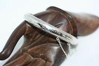 """Vintage 925 Silver Hinged Women's Floral Engraved Bangle Bracelet 7"""" 8 MM 11 Gr"""