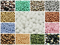 CHOOSE COLOR! 50pcs 6mm Round Pressed Beads Czech Glass