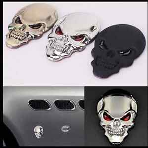 2pcs 3D Skeleton Skull Emblem Badge Window Car Truck Motor Metal Sticker Decal