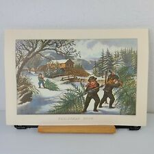 Currier and Ives Print Christmas Snow Travelers Insurance September 1978 11x16