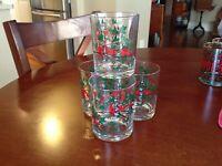 FOUR VINTAGE Cardinal/Holly Christmas Lowball/Juice/Eggnog Drinking Glasses