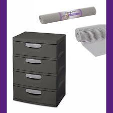 Sterilite, 4 Drawer Unit, Flat Gray PLUS EasyLiner 20 In. x 6 Ft. Shelf Liner
