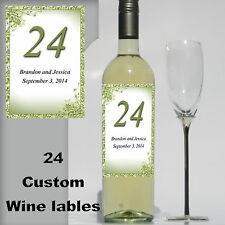 24 Custom Personalized vine green Wine Bottle Wedding Labels table numbers bride