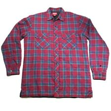 Coleman Mens LT L Tall Man Quilted Insulated Red Plaid Flannel Shirt Jacket EUC