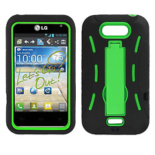 LG Motion 4G MS770 Impact Hard Rubber Case Phone Cover KickStand Black Green