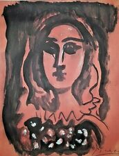 Pablo Picasso Original Watercolor Drawing Painting. Signed.