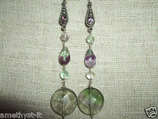ORECCHINI EAR RINGS HAND MADE GEMSTONE FLUORITE 925 ARGENTO AMETISTA SILVER