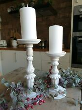 Rustic Candlesticks White Washed Wooden Candlestick Chic Candlesticks 2 Sizes