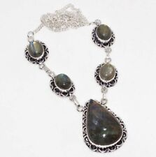 "Necklace 17"" Unique Jewelry Gw Fiery Labradorite 925 Silver Plated"