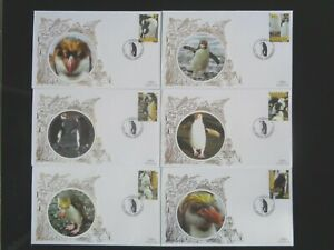 GRENADA CARRIACOU 2007 BIRDS PENGUINS 6v SET 6 x BENHAM SILK FIRST DAY COVERS