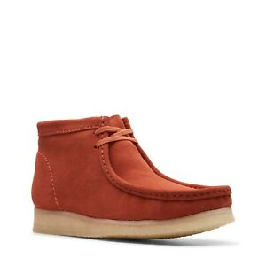 NEW MENS CLARKS ORIGINAL WALLABEE LIMITED EDITION BURNT ORANGE SUEDE LEATHER