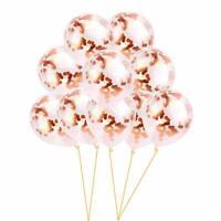 "10pcs 12"" Confetti Latex Balloons Rose Gold Helium Birthday Wedding Hen Party US"
