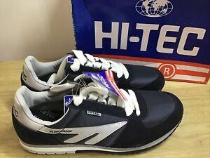Hi Tec Silver Shadow Navy Blue Retro Trainers Rare Size UK12 EUR 46