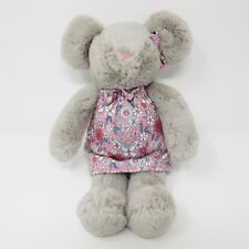 Tesco grey mouse pink floral dress super soft toy plush baby comforter F&F 10""