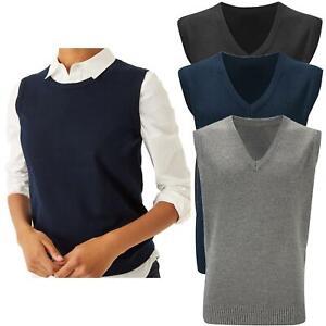 Womens Ladies Knitted Vest Top Sleeveless Jumper Tank Waistcoat Gilet Sweater