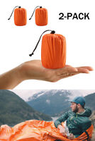 2-Pack Reusable Emergency Sleeping Bag Thermal Waterproof Survival Camping Bags
