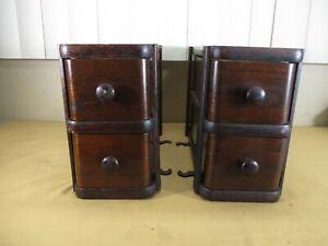 Set of 4 Antique Ornate Wood Treadle Sewing Machine Cabinet Wood Drawers   (b)