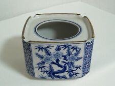 Vintage Japanese large Ashtray  Blue and White Japan