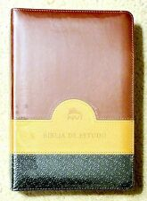 Portuguese NIV Study Bible, (NVI), Brown Black Gold, Bonded Leather  f/s