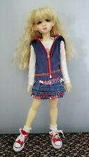 5 pc outfit sleeveless blue hoodie Ts skirt Shoes Socks Kaye Wiggs Msd Bjd Doll