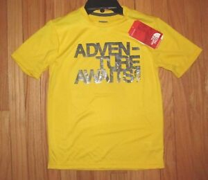 The North Face Boys SS Yellow Black Adventure Logo Shirt M (10-12) NWT