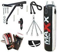 Punch Bag Boxing Set 3ft 4ft 5ft Heavy Filled Punchbag Gloves Bracket New Maxx®