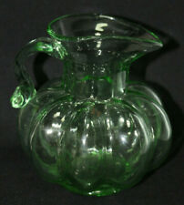 Vintage Green Melon Glass Pitcher
