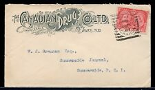 St. John N.B. Squared circle on Canadian Drug Co. advertisign 1897 cover Canada