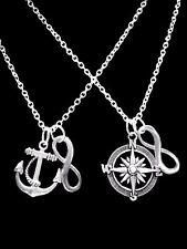 Anchor Compass Nautical Beach Infinity Sister Best Friends Friend Necklace Set