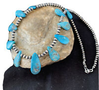 Native American Navajo Pearls Sterling Silver Blue Turquoise Necklace 943