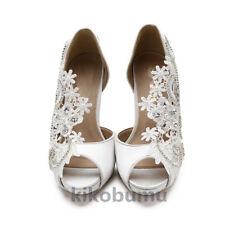 "WHITE IVORY 3"" 4"" Open Toe Satin Ribbon bridal high heels evening wedding shoes"