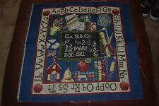 """Back to School Tapestry Panel Fabric Pillow Panel 18"""" L x 18""""H"""