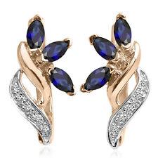 Russian Jewelry Genuine Sapphire & Diamond Earrings 14k Solid Rose-White Gold
